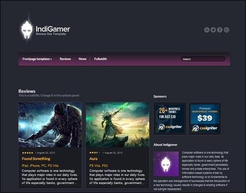indigamer wordpress gaming themes