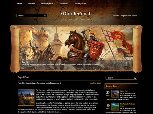 middleearth wordpress gaming themes