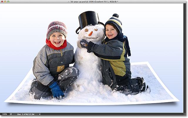 Photoshop 3D Pop Up Photo Effect. Image © 2012 Photoshop Essentials.com.