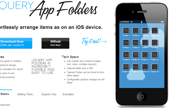 jQuery JavaScript plugin for iOS app folders
