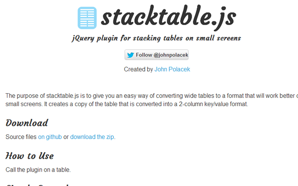 jQuery open source responsive tables plugin stackable