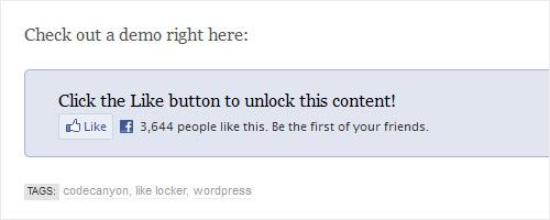 WordPress Plugin - WordPress Like Locker