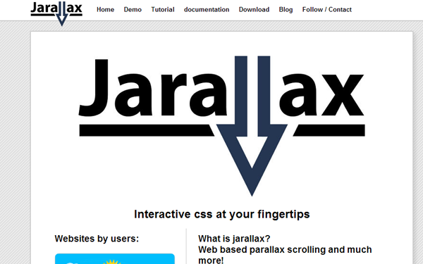 parallax website plugin jquery javascript open source