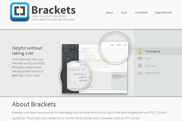 brackets io website interface development project