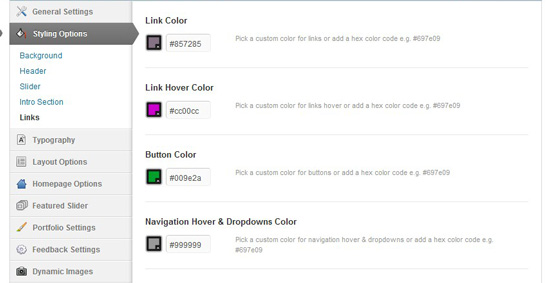An example theme's customization options. Most themes have similar color customization options.