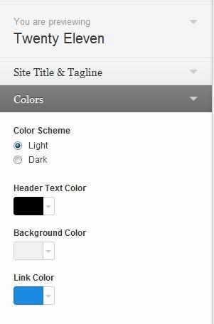 The Twenty Eleven Theme uses WordPress's Customizer.