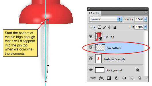 Draw the bottom of the pin with the Pen tool