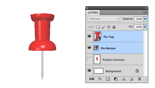 Add the 3D effect and material to the bottom of the pin