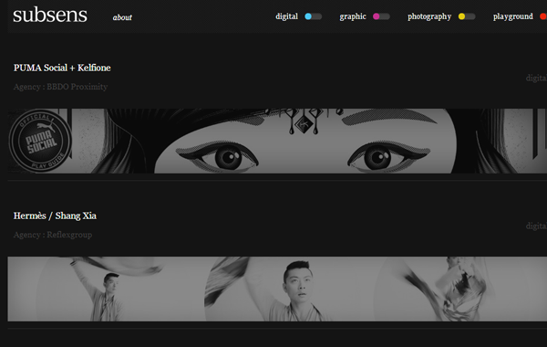 dark black subsens website theme