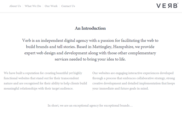 verb design studio agency website