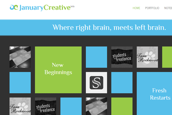 just creative january website interface layout