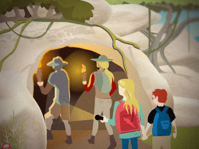top secret cave illustration drawing