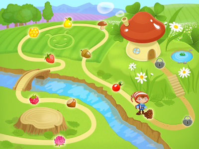 illustration ipad app game map world