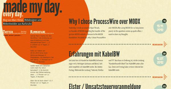 1. orange based web design