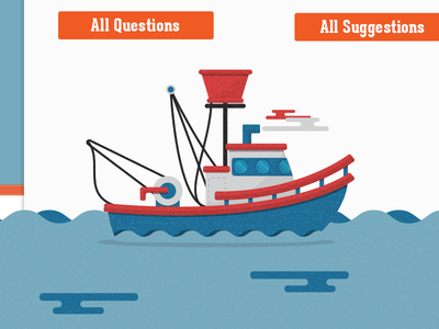 illustration boat footer interface website