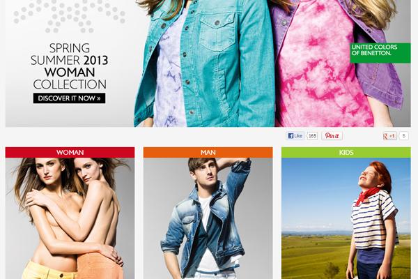benetton website layout interface webdesign