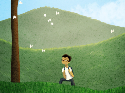 springtime illustration grassy hills march
