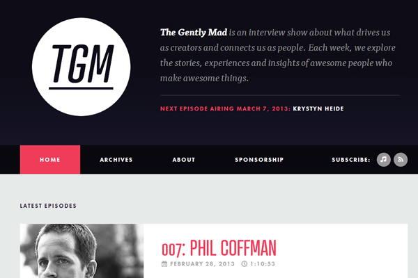 gently mad website layout interface webdesign