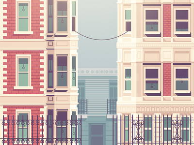 illustration houses cables phone lines