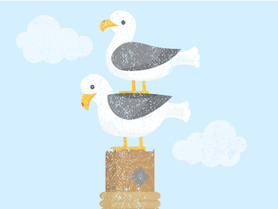 seagulls birds double decker illustration
