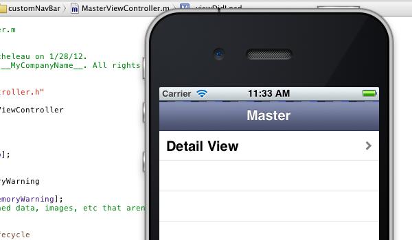 custom design iphone app toolbar gradient