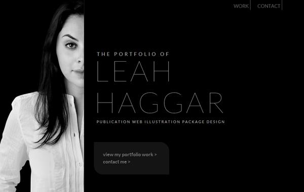 leah haggar portfolio personal dark website theme
