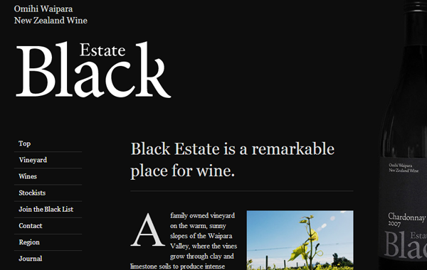 vineyard website dark themed layout interface