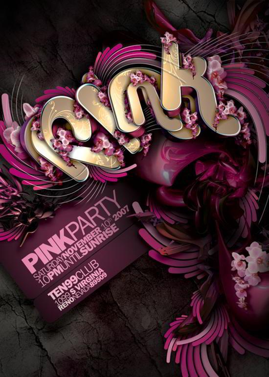 pink flyer design