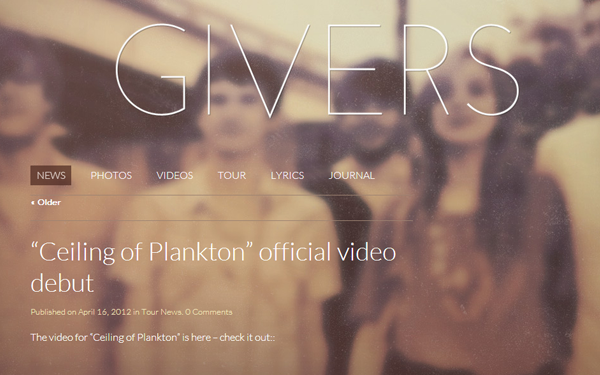 givers band website musical layout design