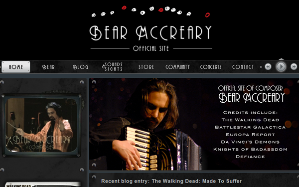 bear mccreary website layout inspiration designs