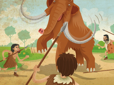 cavemen fighting mammoth spears illustration