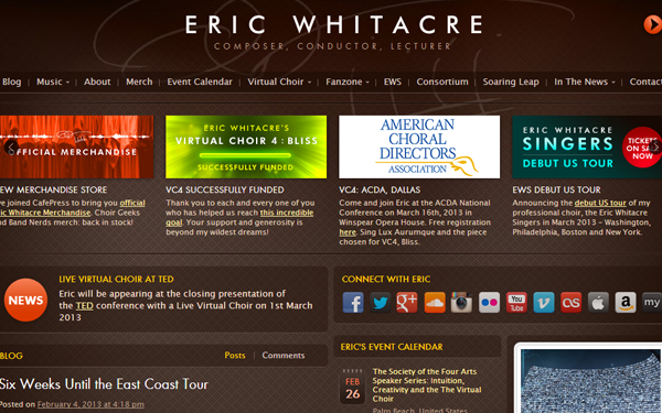 whitacre composer musician website inspiration musical layout