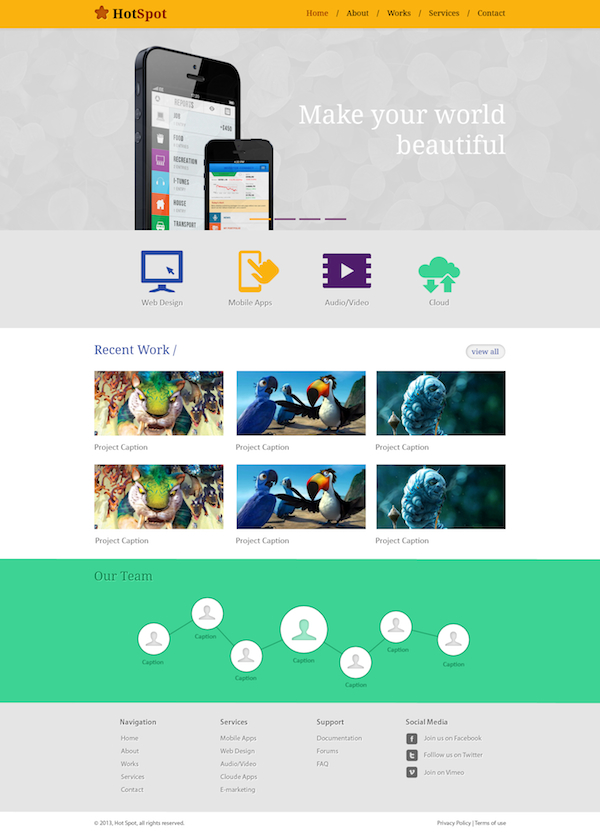 Free Minimal Website Template PSD