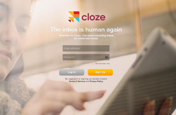 tablet app cloze website homepage signup form