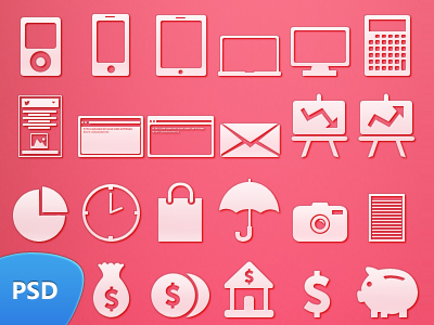 pink vector photoshop icons set