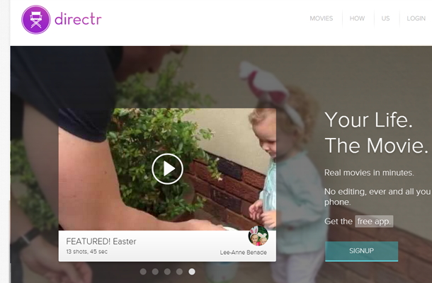 movie video app startup homepage directr