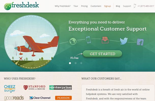 freshdesk homepage website layout startup service