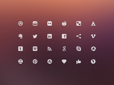 social glyphs mini icons freebie set