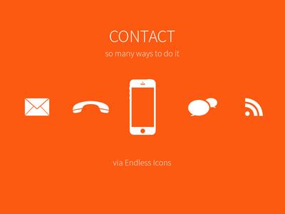 freebie orange icons contact us set