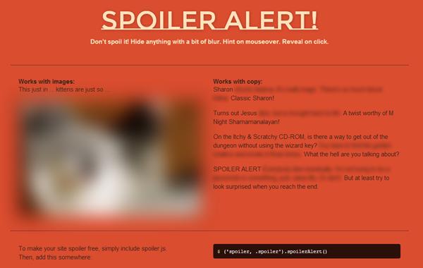jquery spoiler alert plugin hidden content