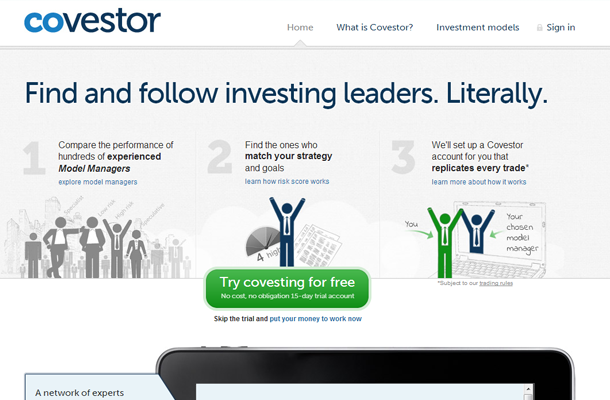 personal investor network startup homepage layout