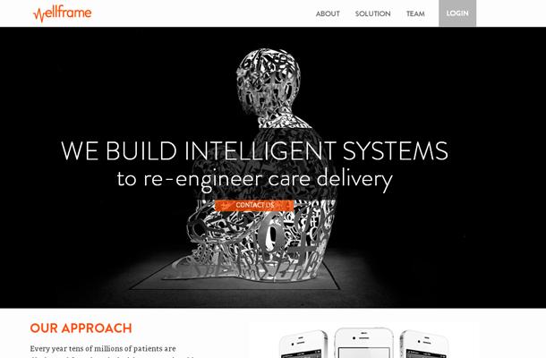basic wellframe startup homepage dark layout