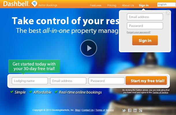 basic boston startup dashbell website layout