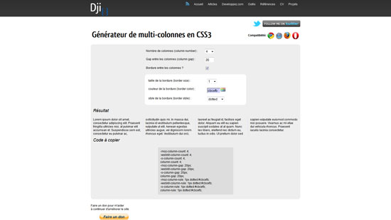 CSS3 multi-column generator