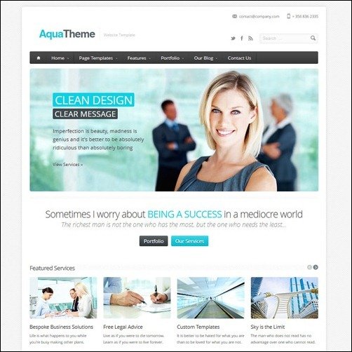 Aqua Business Website Template