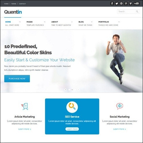 Quentin business website template