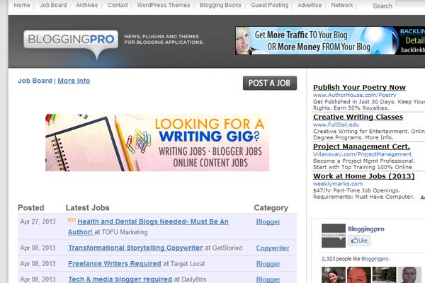 bloggingpro website job board design inspiration