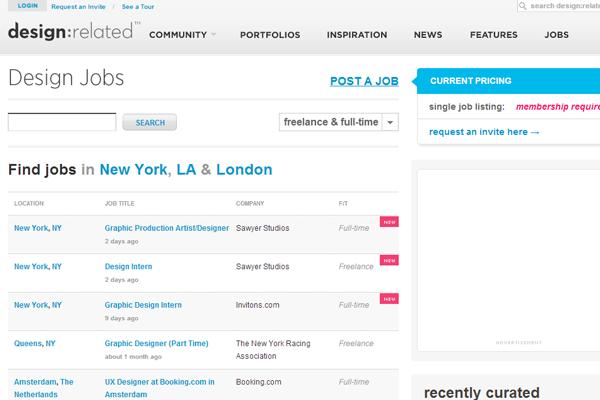 design related jobs board website