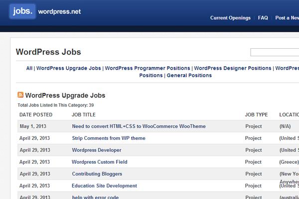 wordpress jobs board interface layout