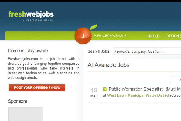 fresh web jobs board layout design